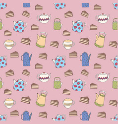 seamless pattern with colorful teapots and cakes vector image