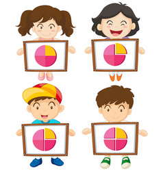 Four kids holding sign with piecharts vector