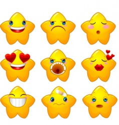 Set of smileys stars vector