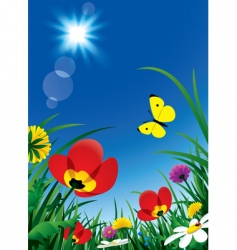 flowers and sun vector image