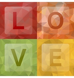Love on abstract geometric rumpled triangular low vector