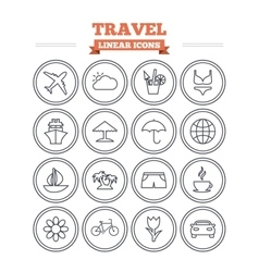 Travel linear icons set thin outline signs vector