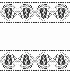 Black elegant border in damask retro style vector