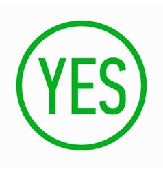 Yes in circle icon simple style vector