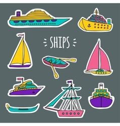 Set of water transport with white silhouettes vector