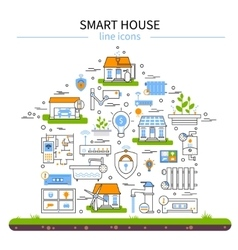 Smart house flat colored icon set vector