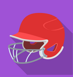 Baseball helmet baseball single icon in flat vector