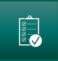 Checklist icon survey in flat design on green vector