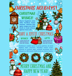 Christmas holiday greeting banner of new year gift vector