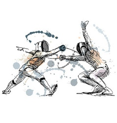 Colored hand sketch fencers vector image vector image