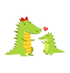 Crocodile mom with red bow animal parent and its vector