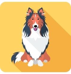 Dog rough collie icon flat design vector