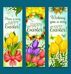 Easter eggs and flowers greeting banner set design vector