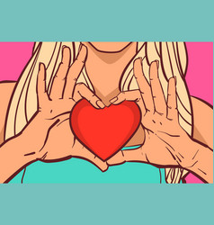 female hands holding red heart shape beautiful vector image