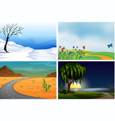 Four nature scenes day and night vector