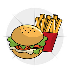 hamburger with fries french icon vector image vector image