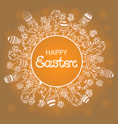 Happy easter wreath with flowers herbs and eggs vector