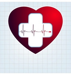 Heart with cardiogram EPS 10 vector image vector image