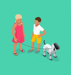 Isometric techno robot concept a girl and a boy vector