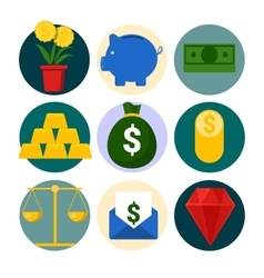 Money and Finance Icons Set with Piggy and Gold vector image