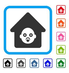 Nursery house framed icon vector