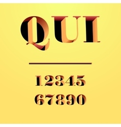 Qui modern typeface carved from the wall letters vector image vector image