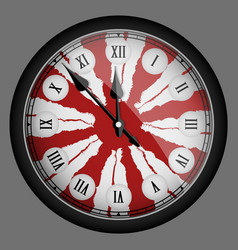 Red realistic modern clock isolated vector