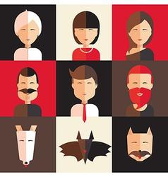 Set of avatars of women men animal vector image vector image