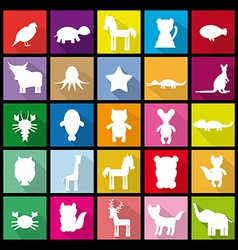 Set silhouettes of animals flat icon vector