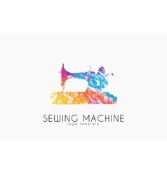Sewing machine ogo design Color sewing machine vector image