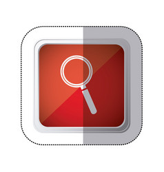 sticker red square button with silhouette vector image