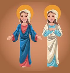 Virgin mary spiritual catholic image vector