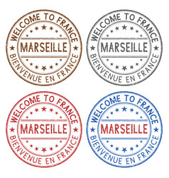 welcome to marseille france colored ink stamps vector image vector image