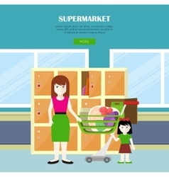 Supermarket web banner in flat design vector