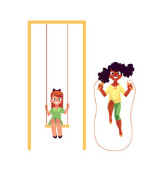 Two girls playing with jumping rope and swinging vector