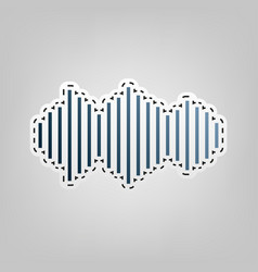 sound waves icon  blue icon with outline vector image