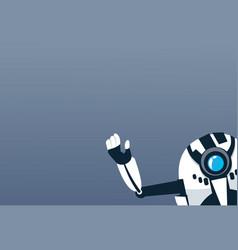 Modern robot waving hand artificial intelligence vector