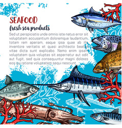 Poster for seafood or fish food products vector