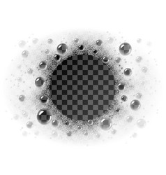 Soap foam circle frame overlying on vector