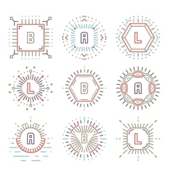 Line hipster monograms vector