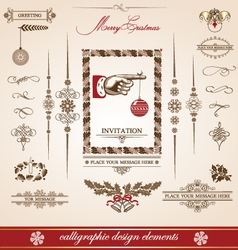 Christmas and new year set of calligraphic vector