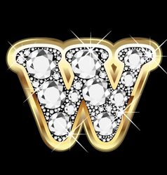 Letter wgold and diamond vector