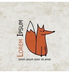 Funny fox design on grunge paper vector image