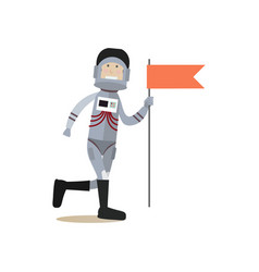 astronaut with red flag flat vector image