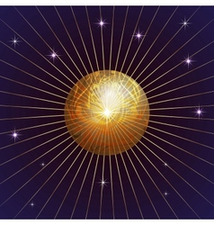 Background with Planet Star and rays vector image