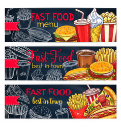 Banners set for fast food restaurant menu vector