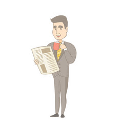 Businessman drinking coffee and reading newspaper vector