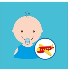 Cartoon airplane red toy baby icon vector