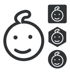 Child icon set monochrome vector