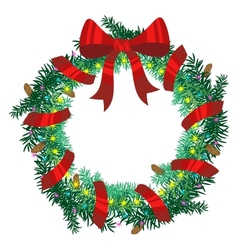Christmas wreath of fir twigs vector image vector image